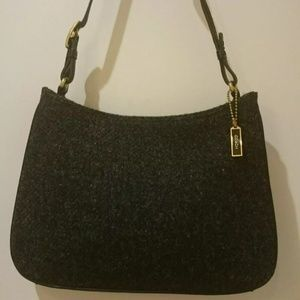 Coach Charcoal Gray Wool Small Handbag